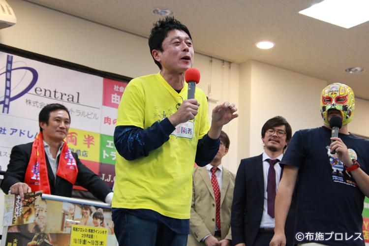 J:COM東大阪の看板スター 欣様がふわっと欣様の番組収録で来場。そのままリングに上がってもらいました。この日の模様は11月1~15日まで何度も放送されるそうです